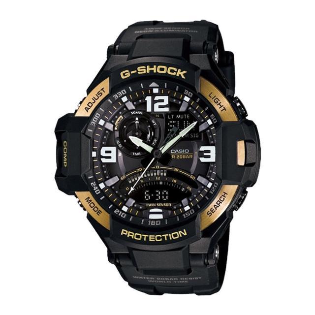 【CASIO 卡西歐 G-SHOCK 系列】數位羅盤/溫度/計時_LED_造型飛行錶(GA-1000)限量出售