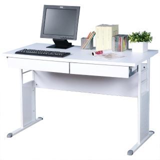 【Homelike】巧思120cm辦公桌-加厚桌面(白色/亮白系列-附二抽屜)