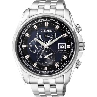 【CITIZEN】Eco-Drive 光動能電波計時腕錶-藍/ 44mm(AT9031-52L)