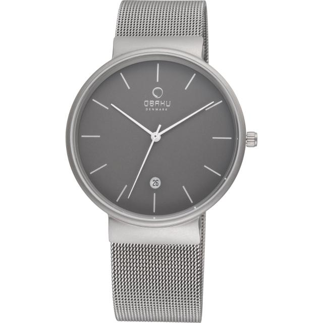 【OBAKU】純粹經典三針日期時尚米蘭腕錶-灰(V153GTJMJ)