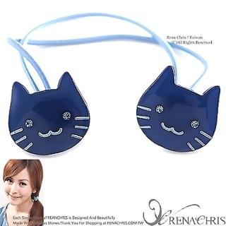 【Rena Chris】粉口愛水晶小貓咪 ˙雙頭髮束(BLUE)
