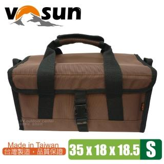 【VOSUN】台灣製 耐磨硬式底板萬用工具袋.萬用收納袋(S號 咖啡)