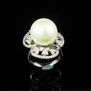 【蕾帝兒珠寶】-雪白白色貝珠戒