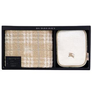 【BURBERRY 巴寶莉】經典戰馬LOGO化妝盥洗包禮盒組(駝色/白色)
