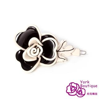 【約克精品】黑色玫瑰(手工髮夾 髮飾)