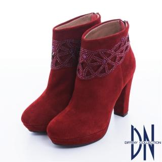 【DN】摩登絢爛 高貴時尚絨皮閃鑽高跟短靴(紅)