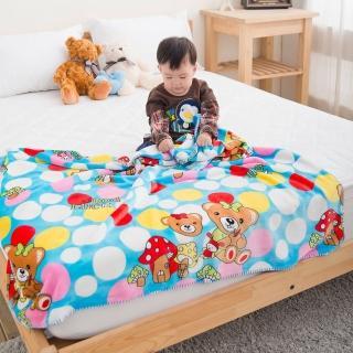 【eyah】頂級超舒柔雙面雪貂絨童毯/嬰幼兒毯(繽紛小熊)