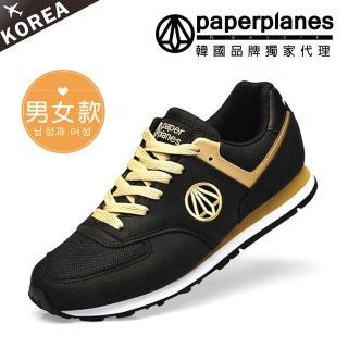 【PAPERPLANES韓國休閒鞋】正韓製/正常版型。男女款輕量透氣撞色慢跑休閒鞋(7-1336黑金/現+預)