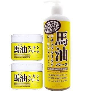 【日本Loshi 馬油】天然潤膚乳液485mlx1入+乳霜220gx2入組