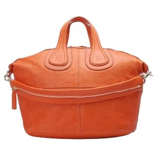 【GIVENCHY】BAG MED羊皮手提/肩背二用包中(12G5008002-820-M 橘色)