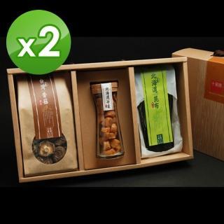 【十翼饌】喜迎春山海珍味絕品禮盒x2盒(新社香菇100g+北海道干貝100g+北海道昆布80g)