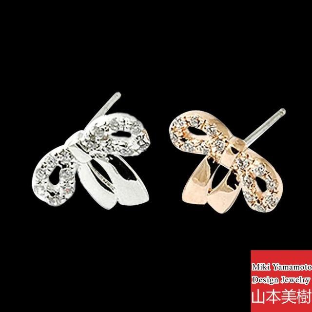 【山本美樹】真愛蝴蝶結 奧地利水晶鑽針式耳環(共兩色)