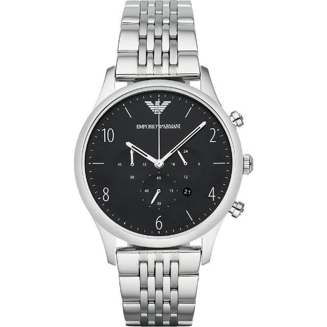 【ARMANI】Classic 紳士復刻經典計時腕錶-黑(AR1863)
