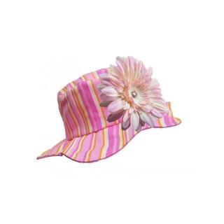 【美國 Jamie Rae】嬰幼兒/女童100%純棉防曬遮陽帽_糖果粉條紋+淡粉雛菊(JRSHDPS02)
