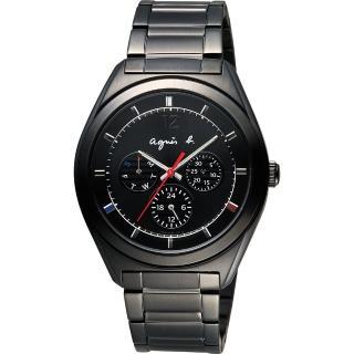 【agnes b.】Solar 驚豔巴黎太陽能日曆腕錶-黑(BT5011P1)