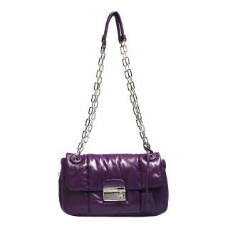 【PRADA】NAPPA BOMBER小羊皮圓形壓釦鍊帶肩揹/斜背晚宴包 紫(B5023L-VIOLA)
