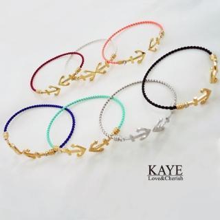 【Kaye歐美流行飾品】海錨水鑽開口編織鍊手環