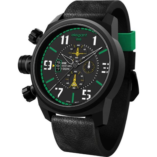 【elegantsis】Army 叢林戰鬥強悍三眼計時腕錶-黑x綠(ELJF48-OG01LC)