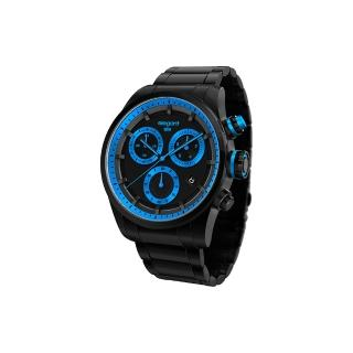 【elegantsis】Clasic Fashion 潮流玩色計時腕錶-黑x藍(ELJT49-JU05MA)