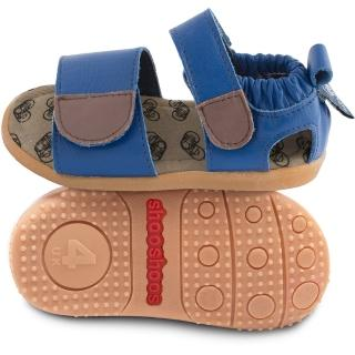 【shooshoos】安全無毒真皮健康手工涼鞋/童鞋_寶藍開放式涼鞋(公司貨)