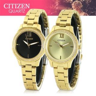 【CITIZEN 日系星辰】日系金系列-晶鑽造型不鏽鋼女錶(EL3082-55E_EL3082-55P)