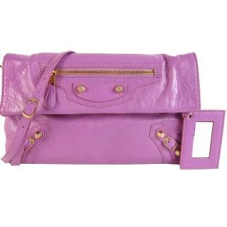 【BALENCIAGA】ENVELOPE金釦羊皮肩背/手拿信封包(粉紫)