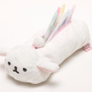 【San-X】麻糬兔兔子朋友系列毛絨筆袋包(白大福)