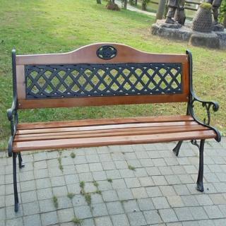 【BROTHER 兄弟牌】歐式雙人花網鑄鐵公園椅附椅背(戶外傢俱)