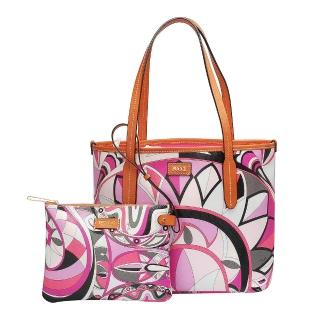【EMILIO PUCCI】幾何印花牛皮飾邊子母包(小-粉紅-附萬用小袋41BE20-41239-H58)