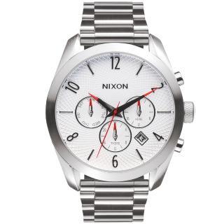 【NIXON】BULLET CHRONO先鋒計時網紋腕錶-白X銀(A366100)