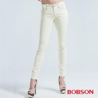 【BOBSON】窄管小直筒色褲(米白)