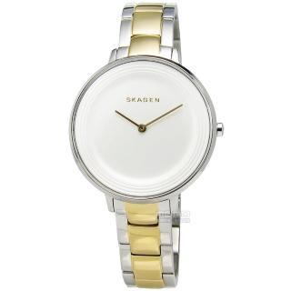 【SKAGEN】Ditte 優雅簡約同心圓不鏽鋼腕錶 白x金 36mm(SKW2339)