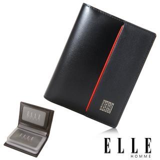 【ELLE HOMME】法式精品嚴選義大利頭層皮厚層透明名片夾(黑EL81959-02)