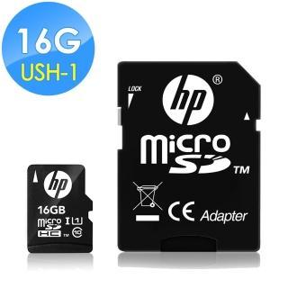 【HP 惠普】16GB UHS-1 microSDHC 記憶卡 U1 含轉卡