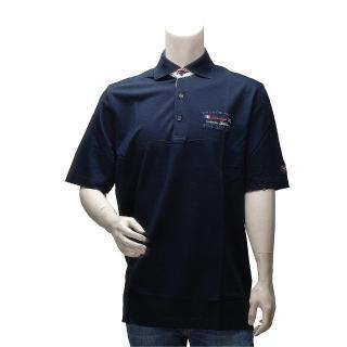 【PAUL & SHARK】網眼刺繡條紋飾邊純棉立領短袖POLO衫(深藍E13P0124-013)