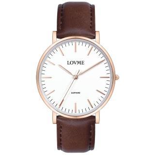【LOVME】城市簡約風婉錶-IP玫x咖啡帶/38mm(VL0012B-4C-241)