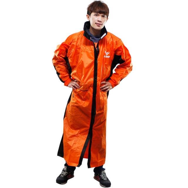 【JUMP】新二代 新帥前開式休閒風雨衣-橘黑評比