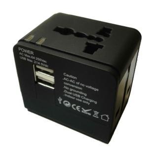 【BOSVISION 博士威】2.1A 雙USB 旅遊萬用轉接頭
