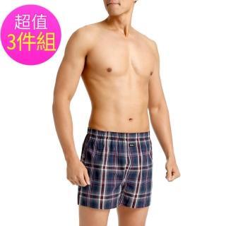 【3GUN三槍牌】時尚經典純棉型男平織棉四角褲-3件組(隨機取色M-XL)