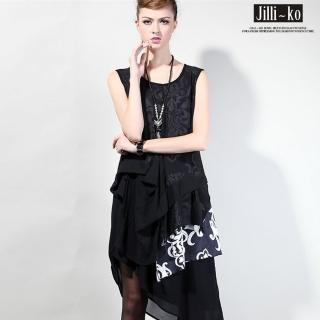 【Jilli-ko】歐美時尚傾斜下擺修身拼接雪紡連身裙(黃/白)