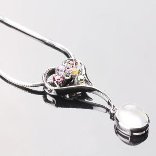 【寶石方塊】繽紛璀璨天然月光石項鍊-925純銀飾/