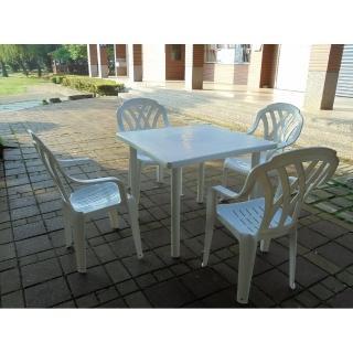 【BROTHER 兄弟牌】塑膠格網高背椅+90cm塑膠方桌一桌四椅組(BROTHER 兄弟牌)