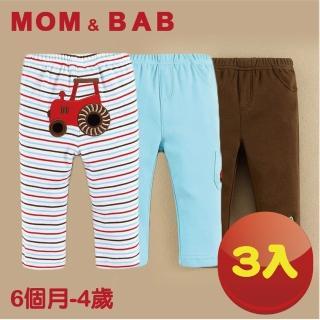 【MOM AND BAB】汽車純棉休閒長褲-三件組(9M-4T)