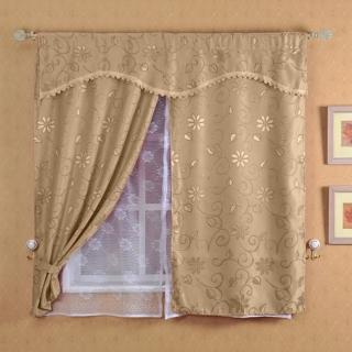 【芸佳】新明采緹花雙層網紗窗簾150x120cm(三色)