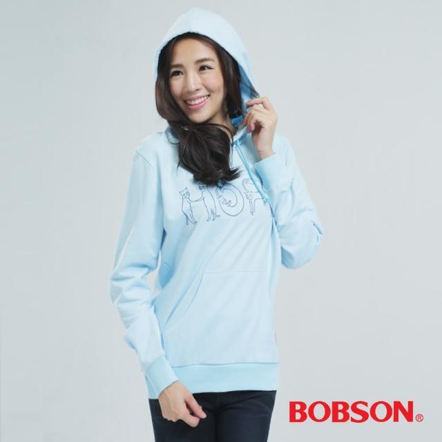 【BOBSON】貓咪印圖帽T(水藍色34128-59)福利品出清