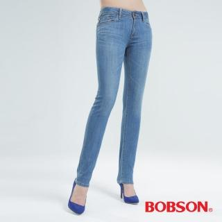【BOBSON】伸縮小直筒褲(水藍8056-58)