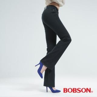 【BOBSON】女款熱感IN小喇叭褲(深灰綠9080-87)