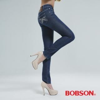 【BOBSON】木醣醇伸縮小直筒褲(深藍8057-53)