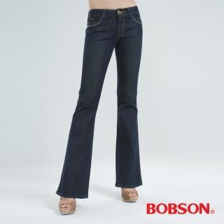 【BOBSON】銀色刺繡伸縮小喇叭褲(黑色9036-50)