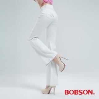 【BOBSON】高腰頭鑽飾伸縮喇叭褲(白色9050-80)